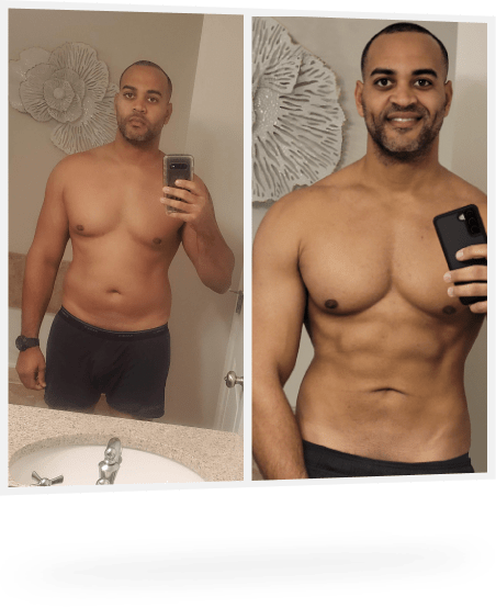 male before and after weight loss photo